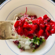 Beetroot Risotto beats the cold recipe to follow