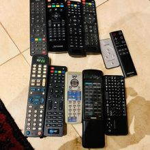 Which, pray tell, of these remotes could switch on one TV? Techno boffins have too many things! Plus we found another 4 and then BINGO the right one!